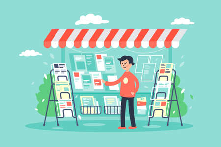Illustration pour Flat young man newsagent in newsstand sells newspapers. Concept market, sale of magazines. Vector illustration. - image libre de droit