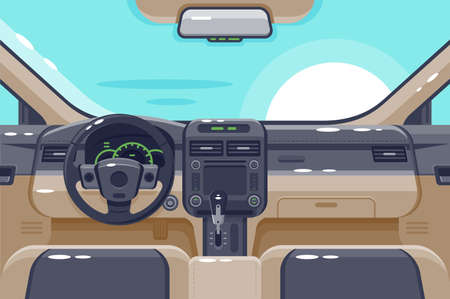 Illustration pour Flat insides of car interior with transmission, steering wheel, glove box, electronics and dashboard. - image libre de droit
