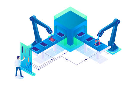 3d isometric man at work with semi automatic production. Concept businessman employee character with modern technology and new interface. Low poly. Vector illustration.