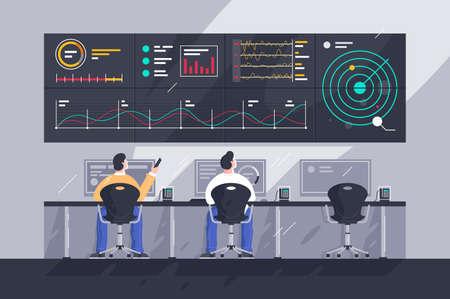 Ilustración de Flat young men employee with screens with charts at control center. - Imagen libre de derechos