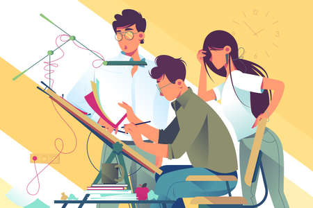 Ilustración de Flat young woman and man team at work on design project. Concept businessman and businesswoman employee characters with professional equipment. Vector illustration. - Imagen libre de derechos