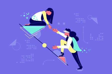 Illustration pour Young attractive woman mutual assistance female partners. Concept businesswomen character helping each other together in raising career. Vector illustration. - image libre de droit