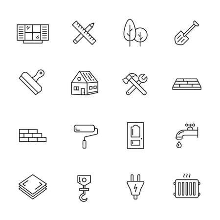 Illustration pour Construction, building and home repair thin line icons - image libre de droit