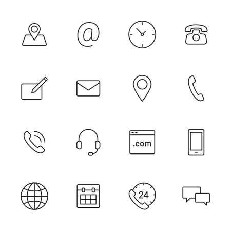 Contact us thin line icons for web and mobile app.