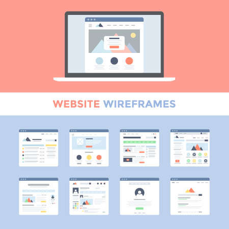 Illustration for Vector set of flat website wireframes on laptop screen - Royalty Free Image