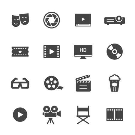 Illustration pour Movie, film and cinema icons - image libre de droit