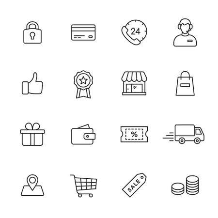 Photo pour Shopping line icons - image libre de droit