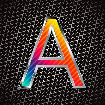 Metallic font . Letter