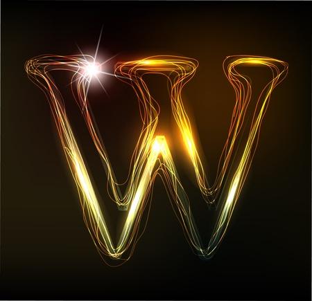Illustration pour Glowing neon font. Shiny letter - image libre de droit