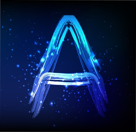Glowing neon font. Shiny letter A