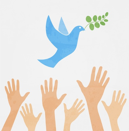 hands releasing white dove of peace.