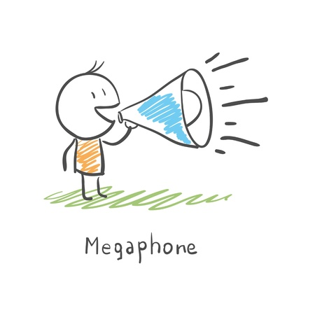 Cartoon man and megaphone