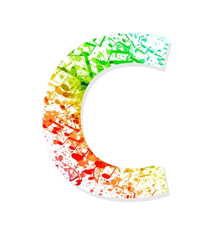 Music theme grungy font  Letter C