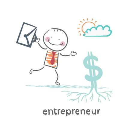 Illustration pour entrepreneur raises Dollar - image libre de droit