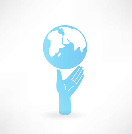 Hand and globe icon