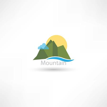 mountains symbol with sun and cloud