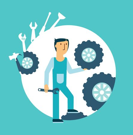 Fitter repairing wheels illustration