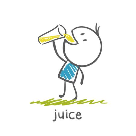 man drinking juice illustration