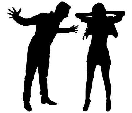 Illustration pour Boy yelling at his girlfriend, vector - image libre de droit