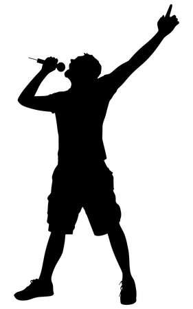 Ilustración de Man singing with a microphone, vector - Imagen libre de derechos