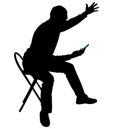 Illustration pour Angry young man shouting using a cellphone, vector - image libre de droit