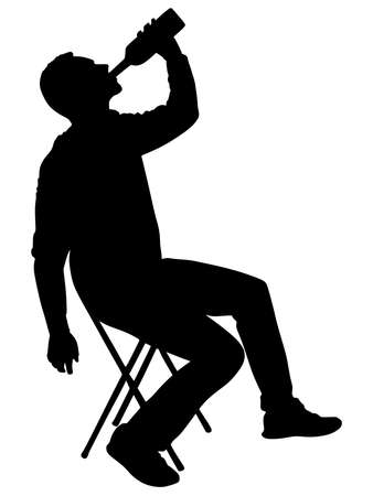 Silhouette of alcoholic drunk man, vector