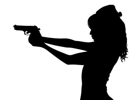 Girl shooting, vector