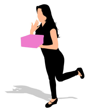 Young happy excited woman opening gift box, vector