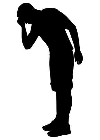 Illustration pour Silhouette Depressed man - image libre de droit