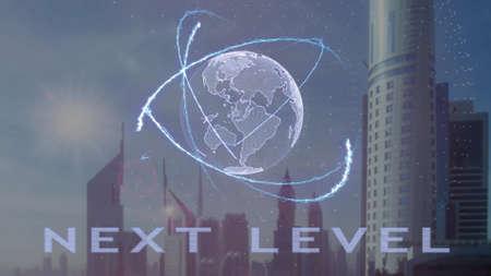 Photo pour Next level text with 3d hologram of the planet Earth against the backdrop of the modern metropolis. Futuristic animation concept - image libre de droit