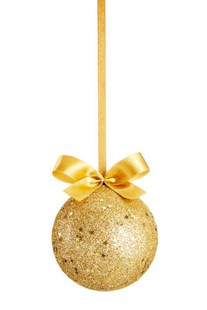 Photo for Gold Christmas ball with bow isolated on white background - Royalty Free Image