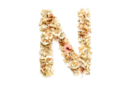 Letter N made from coloured pencil shavings for use in your design.