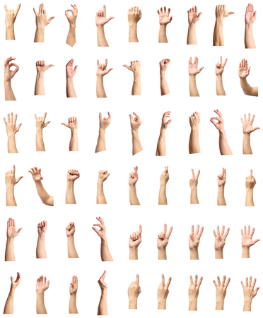 Foto de Male hand gesture and sign collection isolated over white background, set of multiple pictures - Imagen libre de derechos
