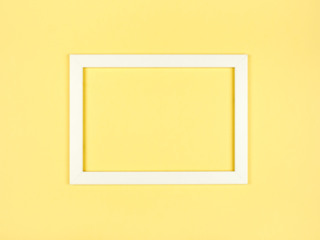 Photo for Abstract blank picture frame flat lay on textured pastel colored paper background. Minimalist picture frame mockup - Royalty Free Image