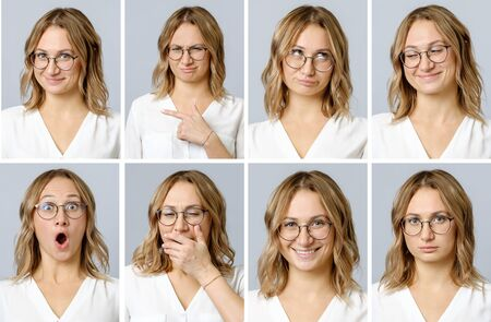 Photo for Collage of beautiful woman with different facial expressions and gestures isolated on gray background. Set of multiple images - Royalty Free Image
