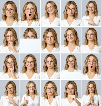 Photo pour Collage of beautiful woman with different facial expressions and gestures isolated on gray background. Set of multiple images - image libre de droit
