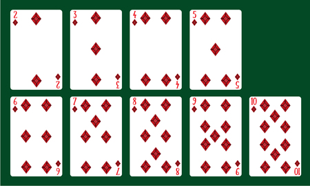 Ilustración de Playing cards suits of diamonds from 20 to 10. A deck of cards. - Imagen libre de derechos
