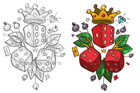 Three white and three red dices, sketch
