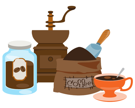 Illustration pour Vintage manual coffee grinder, glass jar for coffee storage, coffee bag and cup color illustration. - image libre de droit