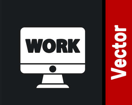 Illustration for White Computer monitor with text work icon isolated on black background. Vector Illustration - Royalty Free Image
