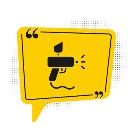 Illustration pour Black Paint spray gun icon isolated on white background. Yellow speech bubble symbol. Vector Illustration. - image libre de droit