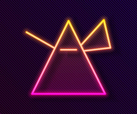 Illustration pour Glowing neon line Light rays in prism icon isolated on black background. Ray rainbow spectrum dispersion optical effect in glass prism. Vector Illustration. - image libre de droit