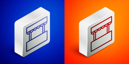 Isometric line Ticket box office icon isolated on blue and orange background. Ticket booth for the sale of tickets for attractions and sports. Silver square button. Vector