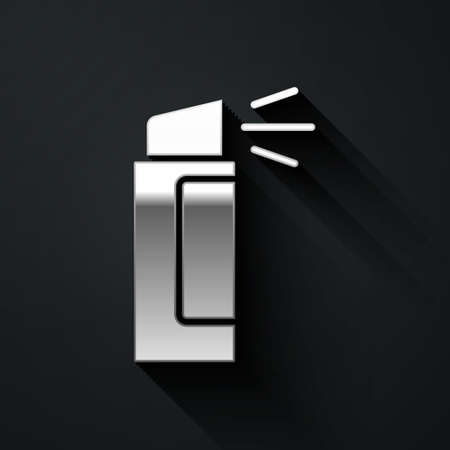 Silver Pepper spray icon isolated on black background. OC gas. Capsicum self defense aerosol. Long shadow style. Vector