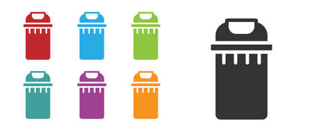 Illustration pour Black Trash can icon isolated on white background. Garbage bin sign. Recycle basket icon. Office trash icon. Set icons colorful. Vector - image libre de droit