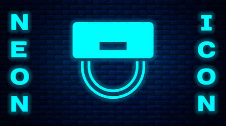 Illustration pour Glowing neon Bellboy hat icon isolated on brick wall background. Hotel resort service symbol. Vector - image libre de droit