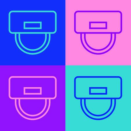 Illustration pour Pop art line Bellboy hat icon isolated on color background. Hotel resort service symbol. Vector - image libre de droit