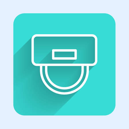 Illustration pour White line Bellboy hat icon isolated with long shadow. Hotel resort service symbol. Green square button. Vector - image libre de droit