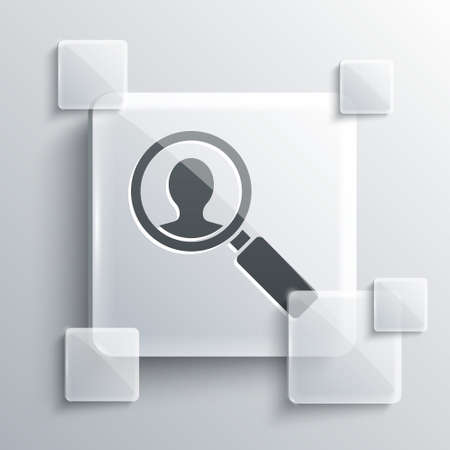 Grey Medical analysis icon isolated on grey background. Medicine help. Pharmacy medication symbol. Square glass panels. Vector Illustration