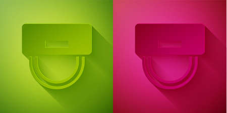 Illustration pour Paper cut Bellboy hat icon isolated on green and pink background. Hotel resort service symbol. Paper art style. Vector - image libre de droit